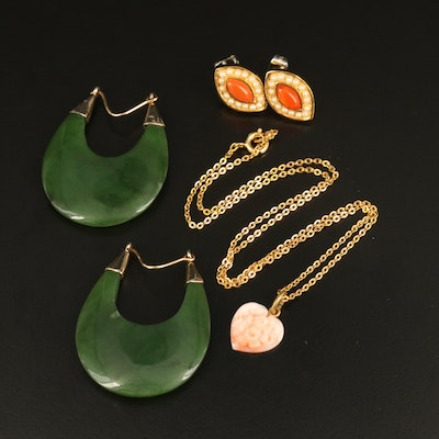 Carved Coral Heart Pendant Necklace, Nephrite Hoop and Navette Stud Earrings