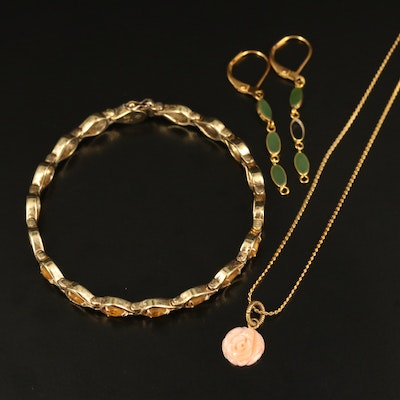 Carved Coral Pendant Necklace, Citrine Bracelet and Nephrite Earrings