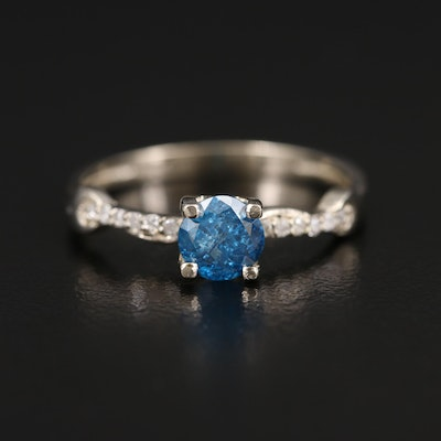 14K Diamond Ring with Blue Center