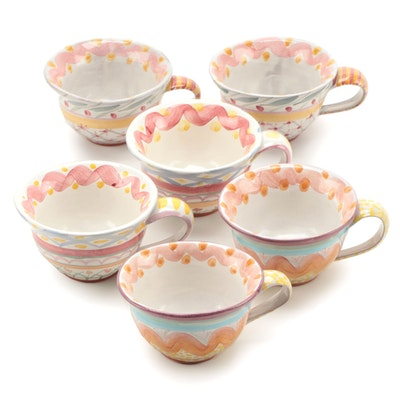 MacKenzie-Childs Flared Rim Ceramic Teacups, Late 20th Century