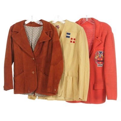 Suede Jacket, Sweater with Crest, and Wool Jacket, Vintage