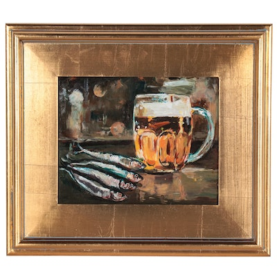 "Adam Deda Oil Painting ""Still Life with a Beer Mug,"" 2020"