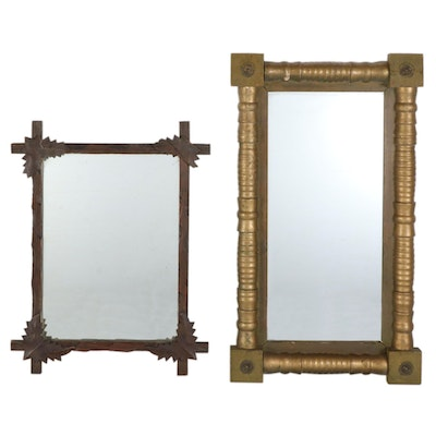 American Empire Giltwood and Black Forest Style Wall Mirrors, Antique