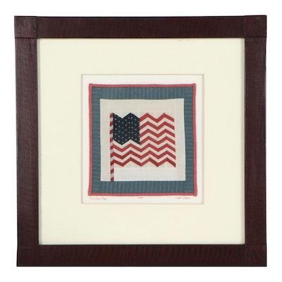 "Kate Adams Folk Art Miniature Quilt ""Zigzag Flag,"" 1995"