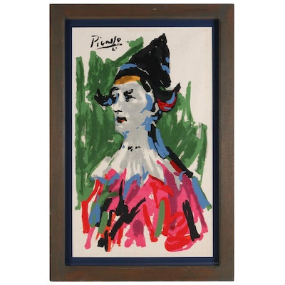 Serigraph after Pablo Picasso of Harlequin, Mid-20th Century