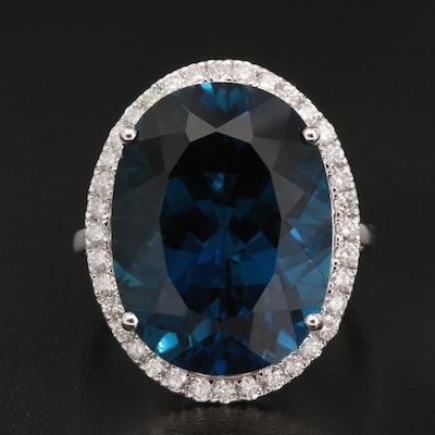 14K 21.50 CT London Blue Topaz and Diamond Ring