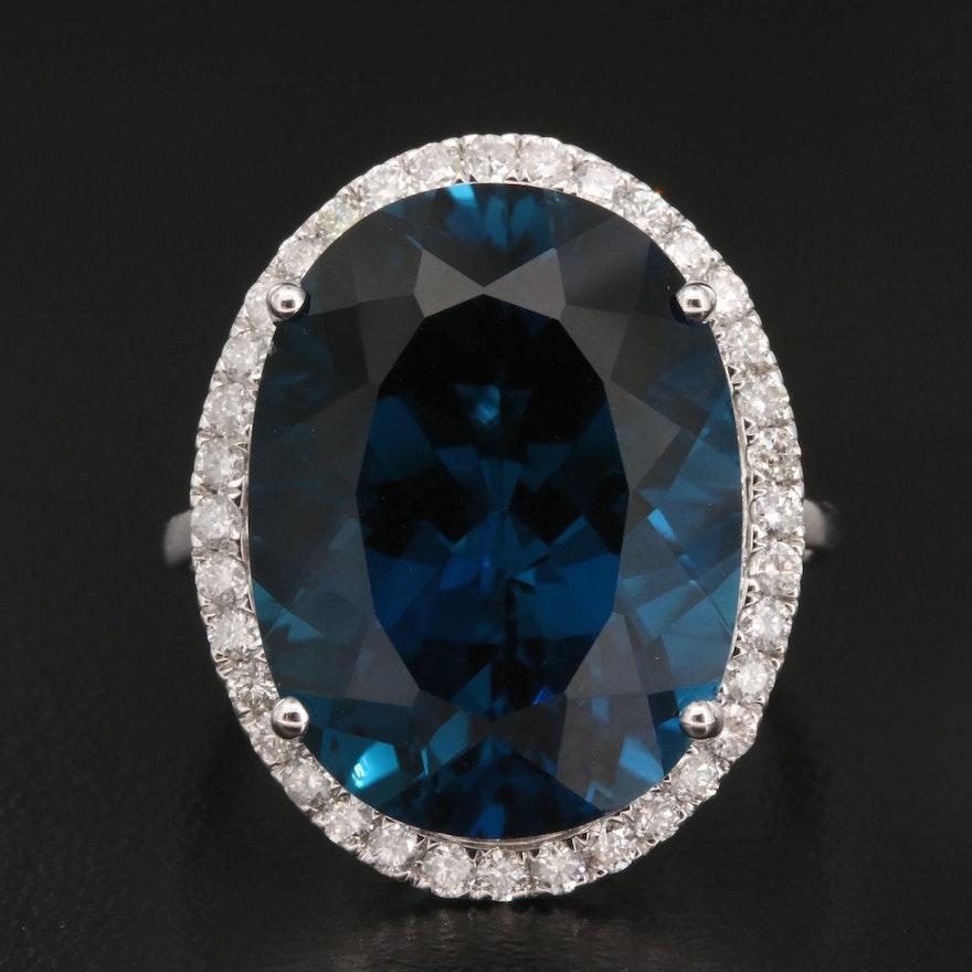 14K 21.50 CT London Blue Topaz and Diamond Ring