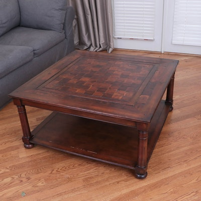 Arhaus Wood Parquet Top Two-Tier Coffee Table