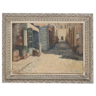 G.S. Vander Poel Oil Painting of Abandoned  Street Scene, Mid-Late 20th Century