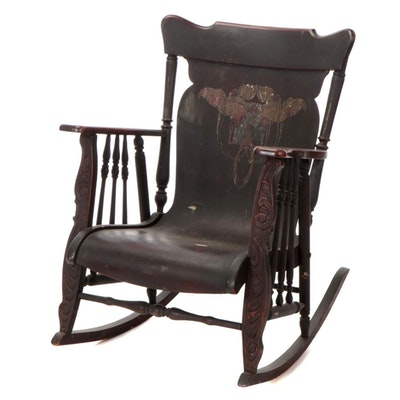 Colonial Revival Birch Rocking Chair with Art Nouveau Transfer
