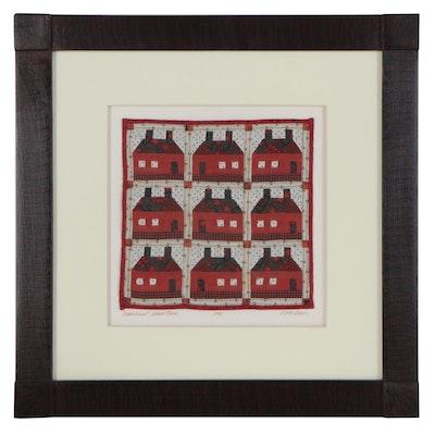 "Kate Adams Folk Art Miniature Quilt ""Traditional School House,"" 1996"