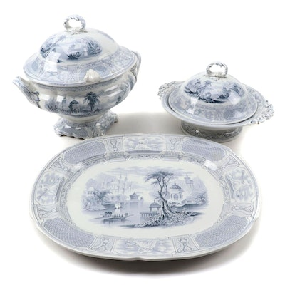 "English Staffordshire Ironstone ""Bosphorous"" Tureen and Other Serving Pieces"