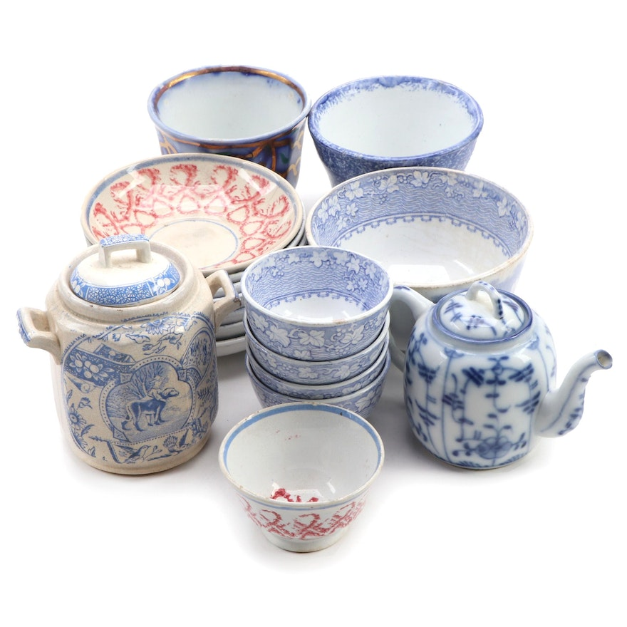 English Ironstone Tea Bowls and Canister with German Tettau Strawflower Teapot