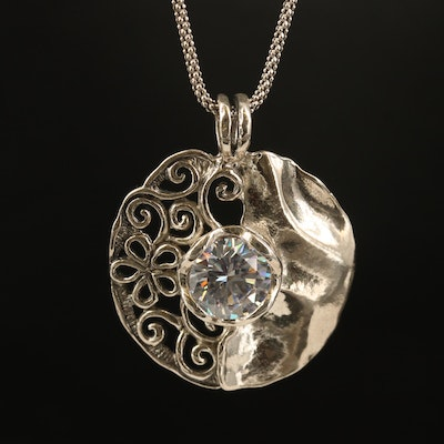 Sterling Cubic Zirconia Floral Necklace