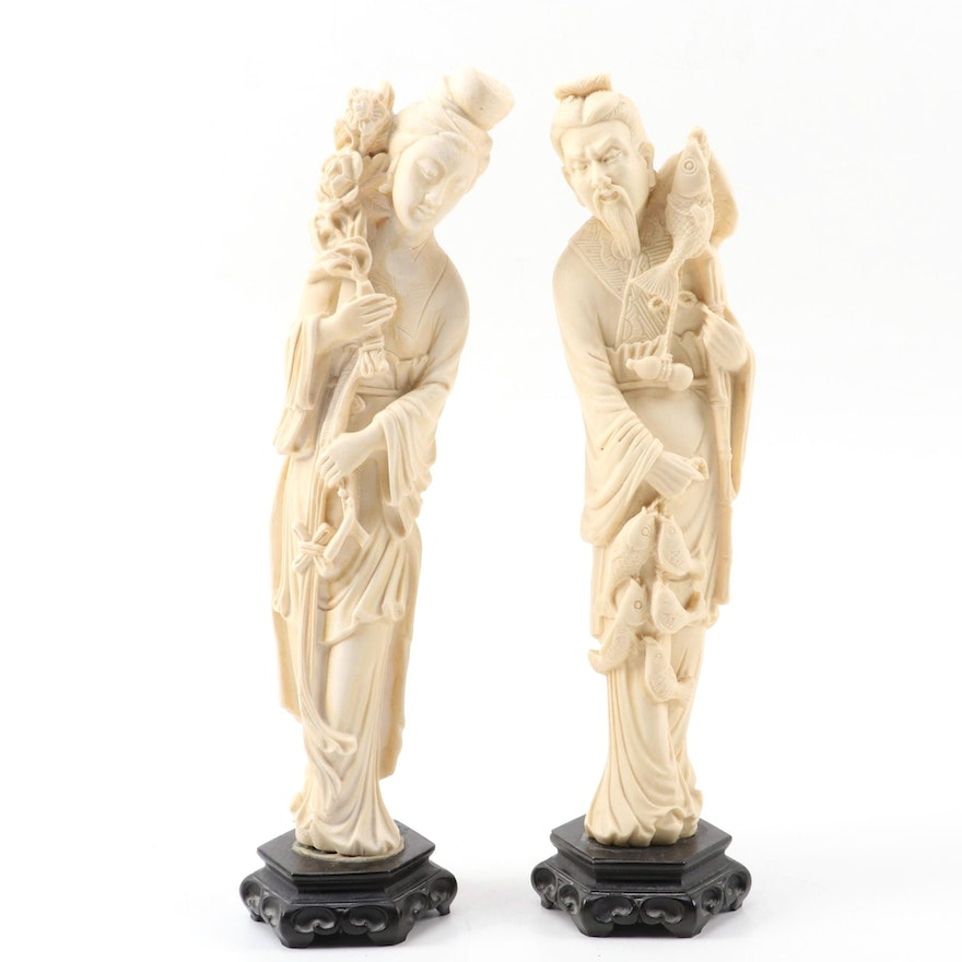 Chinese Resin Figures of Nobleman and Woman, Late 20th Century