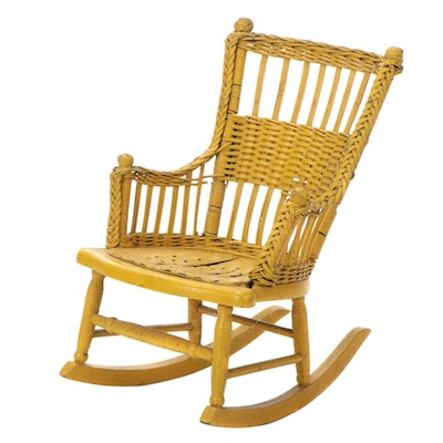 Child's Painted Wicker Rocking Chair, Early 20th Century