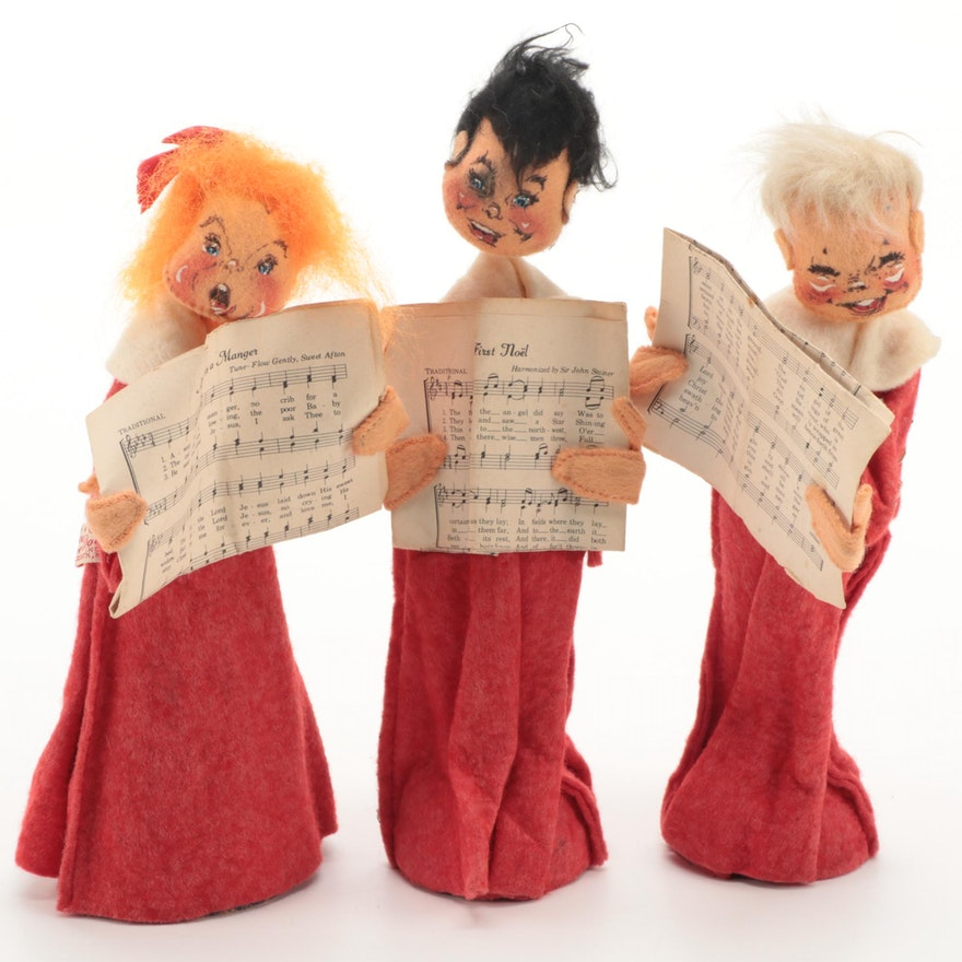 Three Analee Mobilitee Doll Christmas Carolers, Mid to Late 20th Century