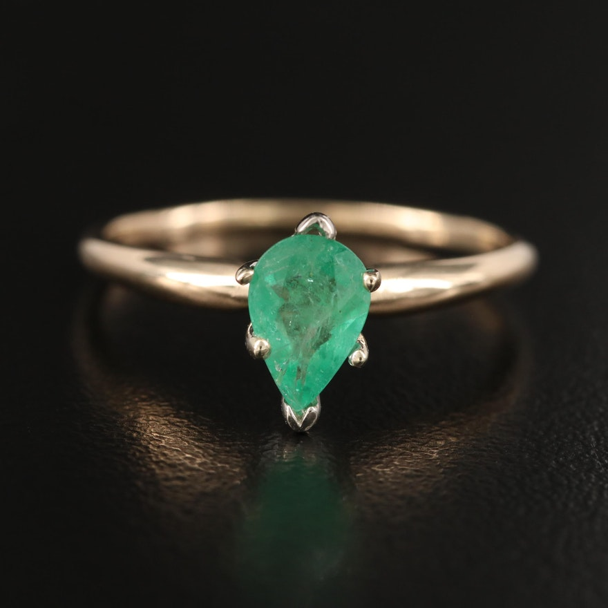14K Pear Faceted Emerald Solitaire Ring
