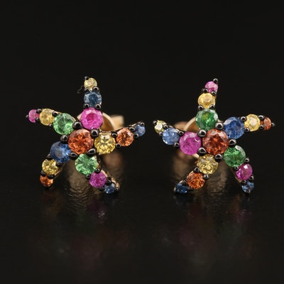 EFFY 14K Sapphire and Tsavorite Starfish Earrings