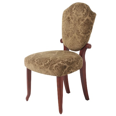Walnut-Stained Wood Upholstered Side Chair