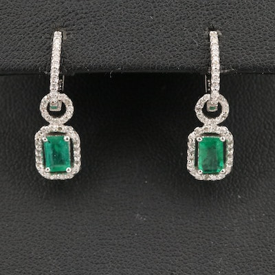 14K Emerald and Diamond Huggie Earrings with Removable Enhancers