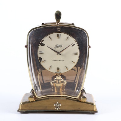 Schatz and Söhne Lectronic German Brass Clock, Mid to Late 20th C.