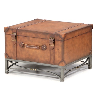 Campaign Style Faux Leather and Metal Base Suitcase Style Side Table