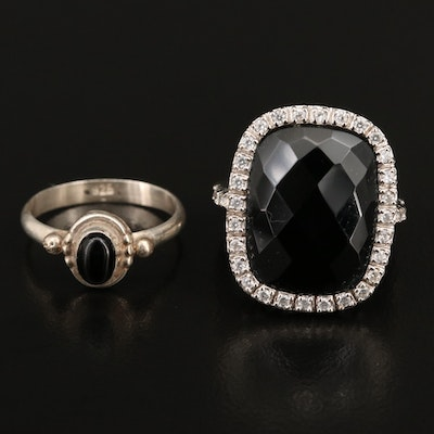 Sterling Black Onyx and Cubic Zirconia Rings
