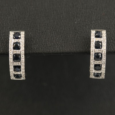 EFFY 14K Sapphire and Diamond Hoop Earrings