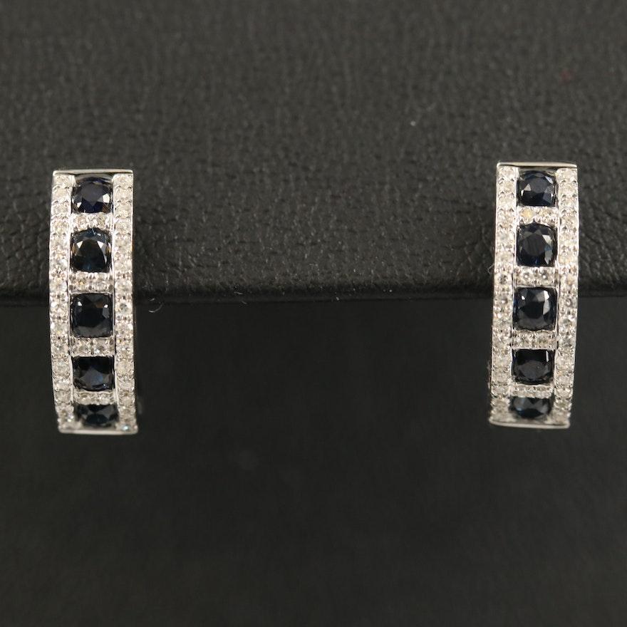 EFFY 14K Sapphire and Diamond Hoop Earrings