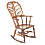 English Windsor Wood Rocking Chair, 19th Century
