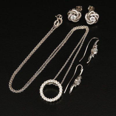 Sterling Grouping Including Rhinestone and Cubic Zirconia