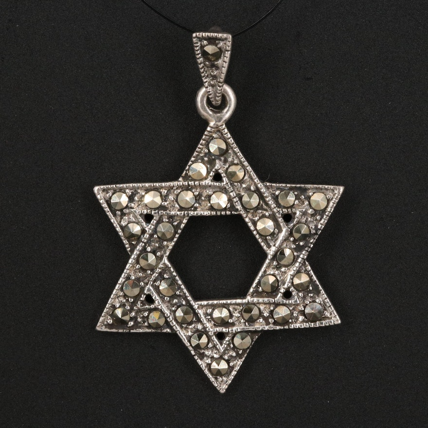 Sterling Star of David Pendant with Marcasite Accents