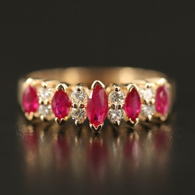 EFFY 14K Ruby and Diamond Step Ring