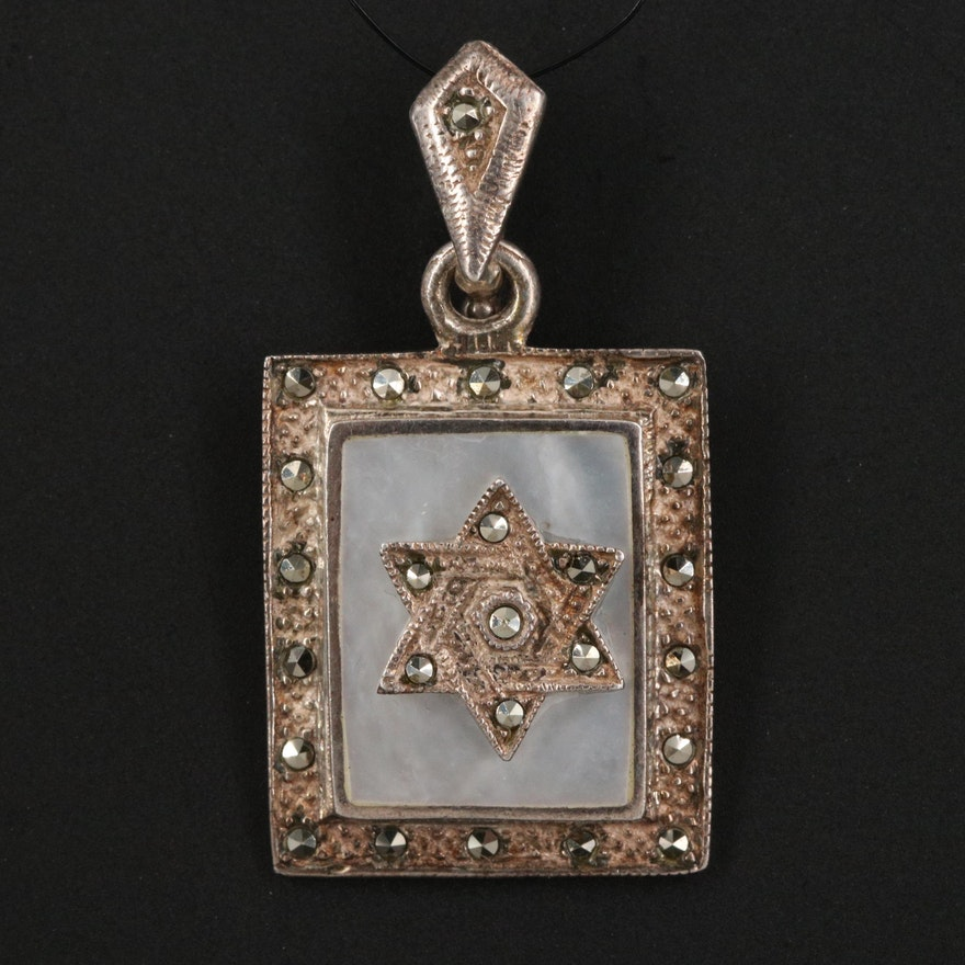 Sterling Mother of Pearl and Marcasite Star of David Pendant