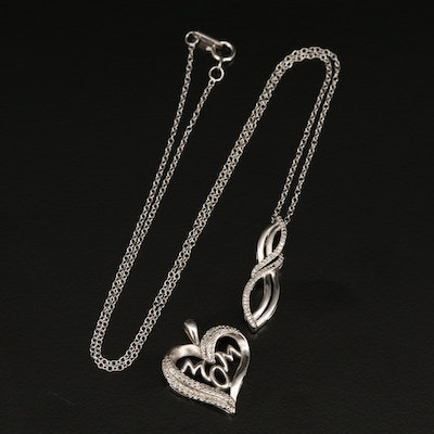 "Sterling Diamond ""Mom"" Heart Pendant and Infinity Necklace"