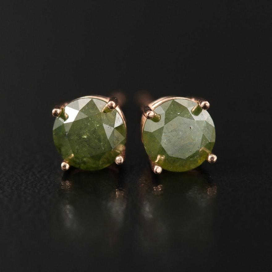 14K 1.60 CTW Green Diamond Stud Earrings