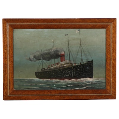 Folk Art Oil Painting of Steamer Ship at Sea, Late 19th Century