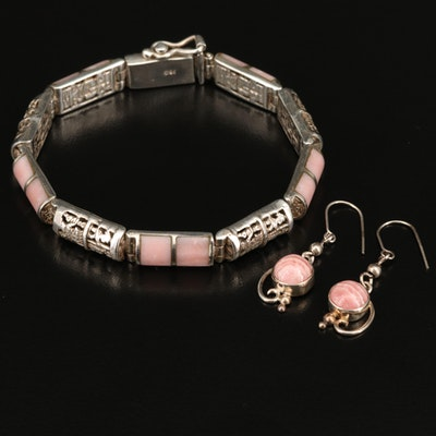 Inca 950 Silver Bracelet with Sterling Earrings Including Rhodochrosite and Opal