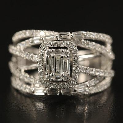 EFFY 14K 1.16 CTW Diamond Crossover Ring