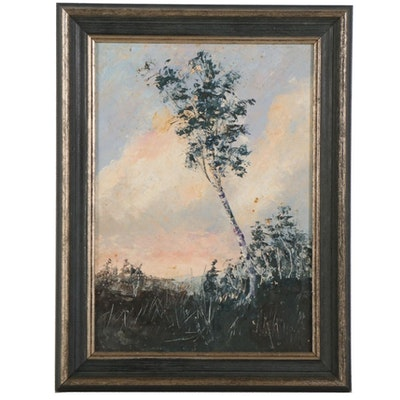 Oil Painting of Tree in Field, Early to Mid 20th Century