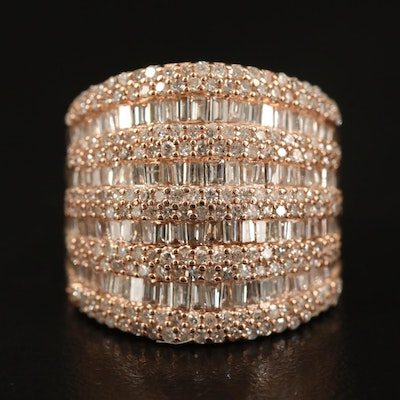 EFFY 14K Rose Gold 2.06 CTW Diamond Multi-Row Ring