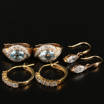 Sterling Earrings Including Topaz, Diamond and Cubic Zirconia