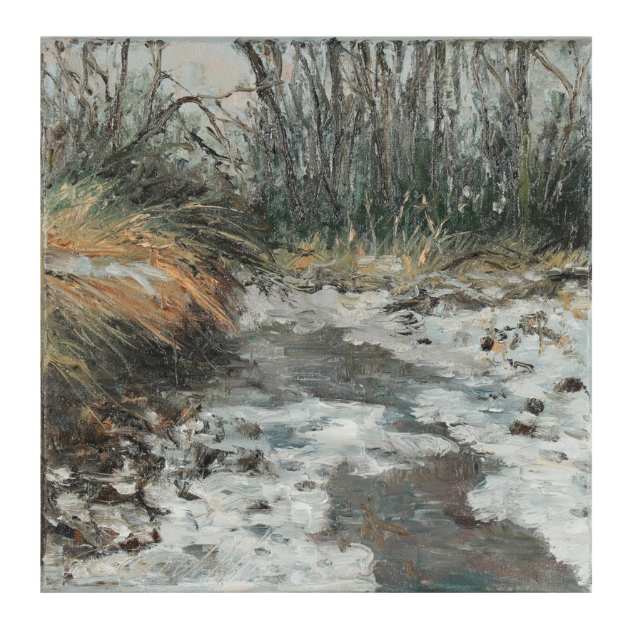 "Garncarek Aleksander Oil Painting ""Komiec Zimy,"" 2021"