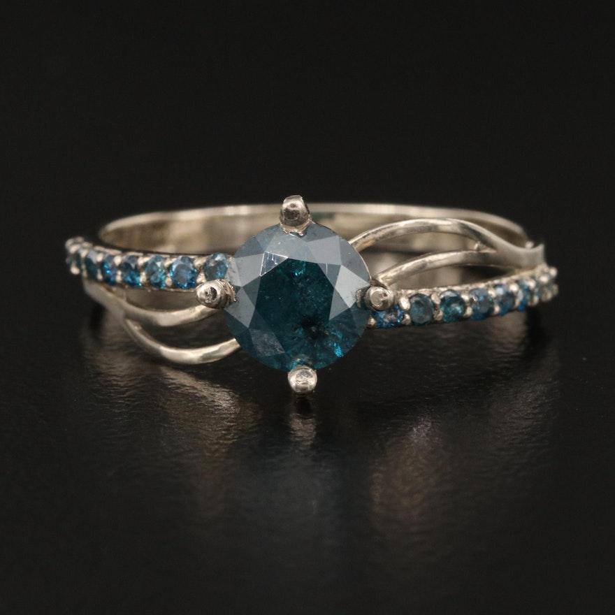 14K 1.02 CTW Diamond Ring with Openwork Shoulders