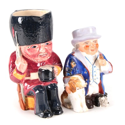 """English """"Guardsman"""" and Other Occupied Japan Character Jugs, Mid-20th Century"""