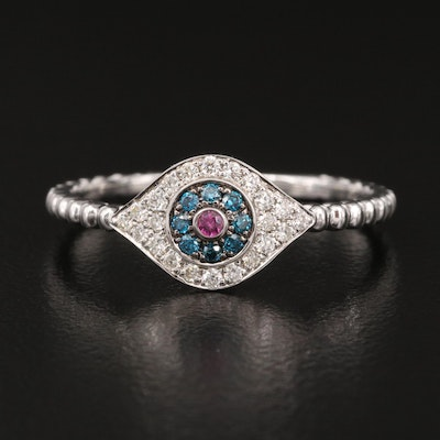 EFFY 14K Ruby and Diamond Evil Eye Ring