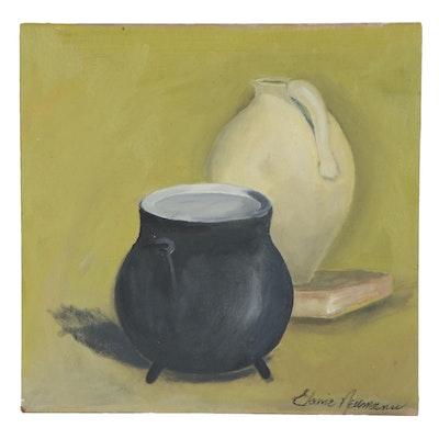 Elaine Neumann Still Life Acrylic Painting with Ceramic Ware, 21st Century