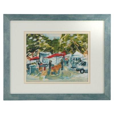 Acrylic Painting of Street Market