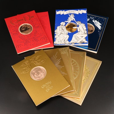Nine Franklin Mint Christmas-Themed Medals